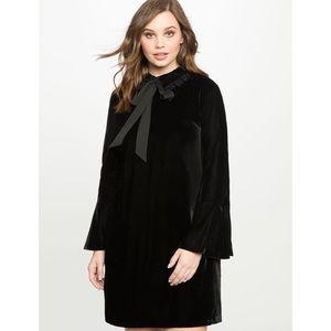 Eloquii black velvet collared Dress sz 18